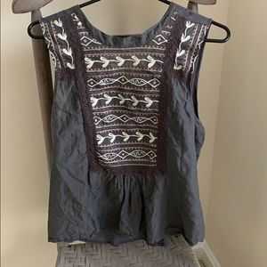 Anthropologie Tiny Brand Gray Boho Blouse